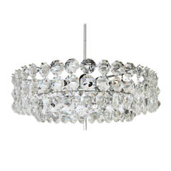 Bakalowits Chandelier, Nickel Crystal Glass, Austria, Vienna, 1960s