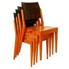 Four Important Austrian Stacking Chairs by Karl Schwanzer, 1950s