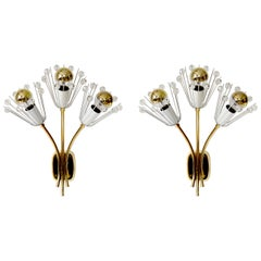 Pair of Brass Glass Sconces by Emil Stejnar for Rupert Nikoll, Vienna, 1950s