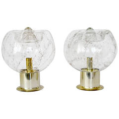 Two Large Table Lamps by Doria, Smoked Bubble Glass Brass Finish, 1970s