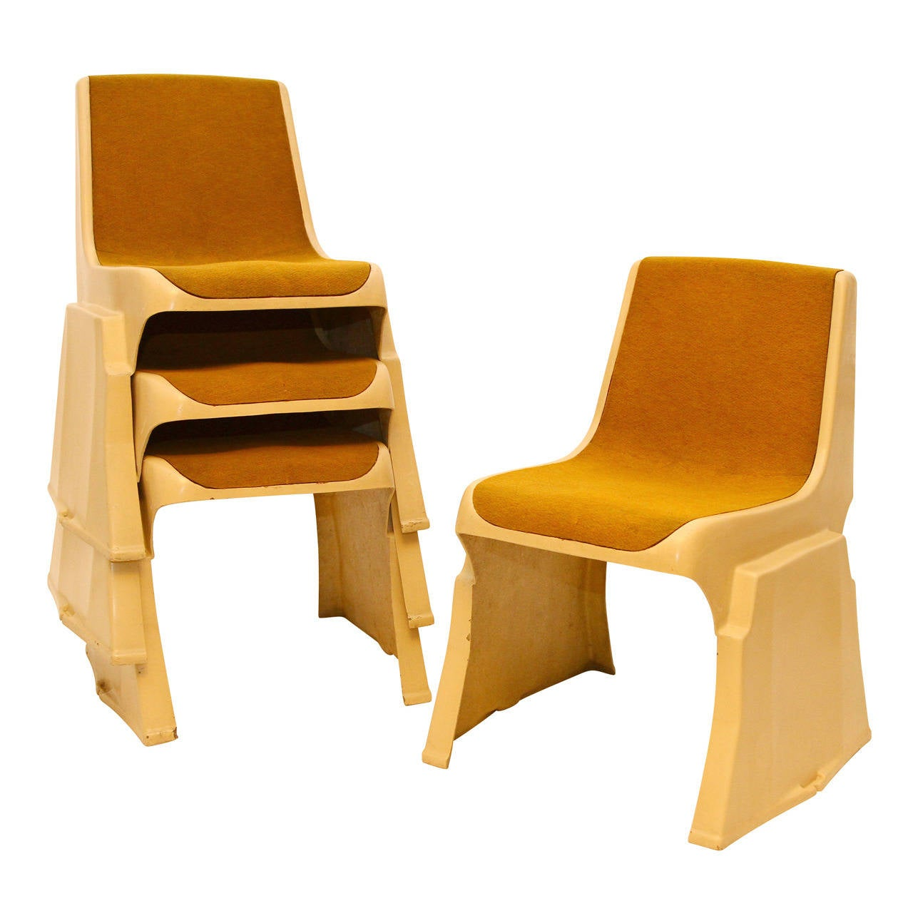 Up to 8 Very Rare Brutalist Austrian Stacking Chairs, 1970s For Sale