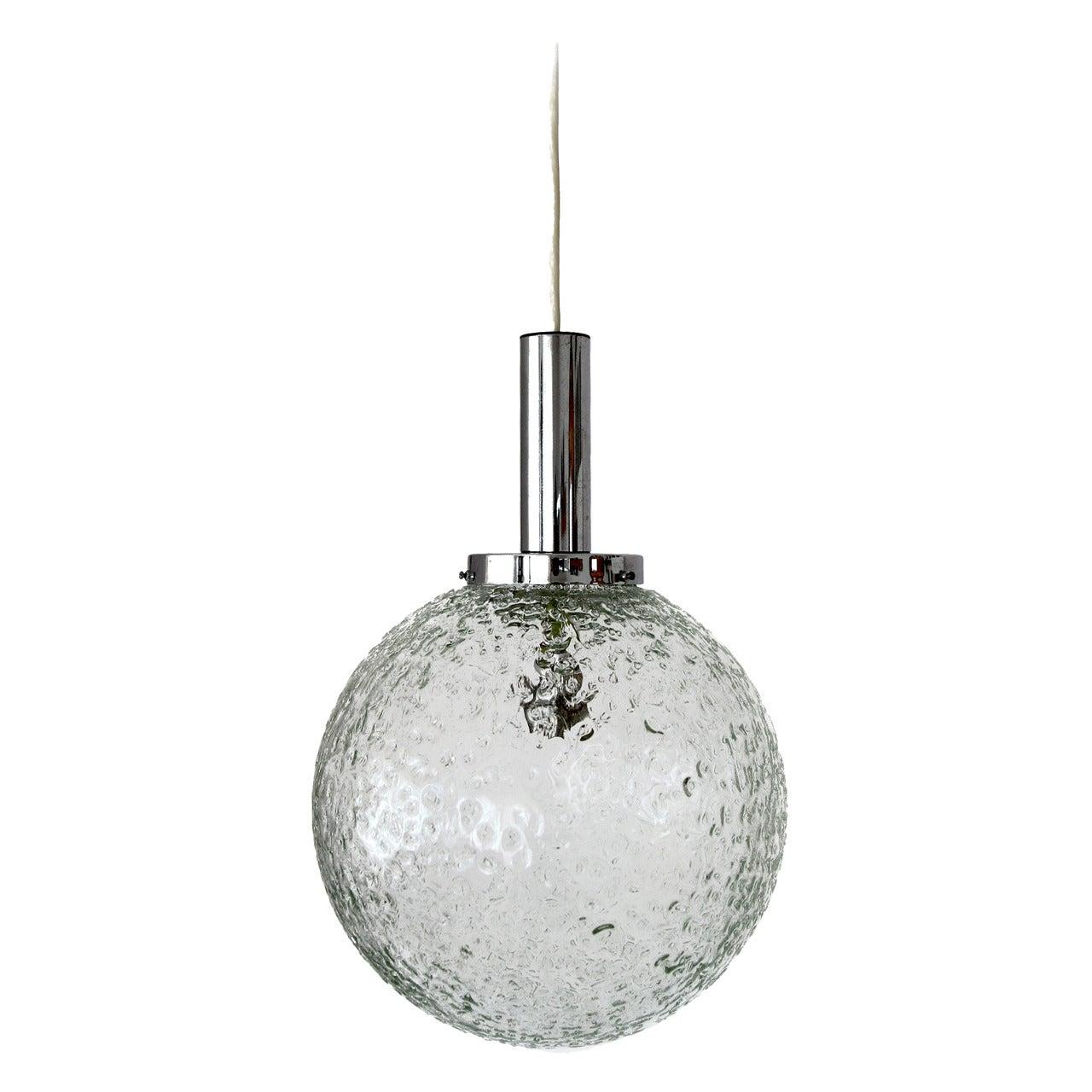 Pendant Light by Doria, Glass Globe and Chrome, 1970s