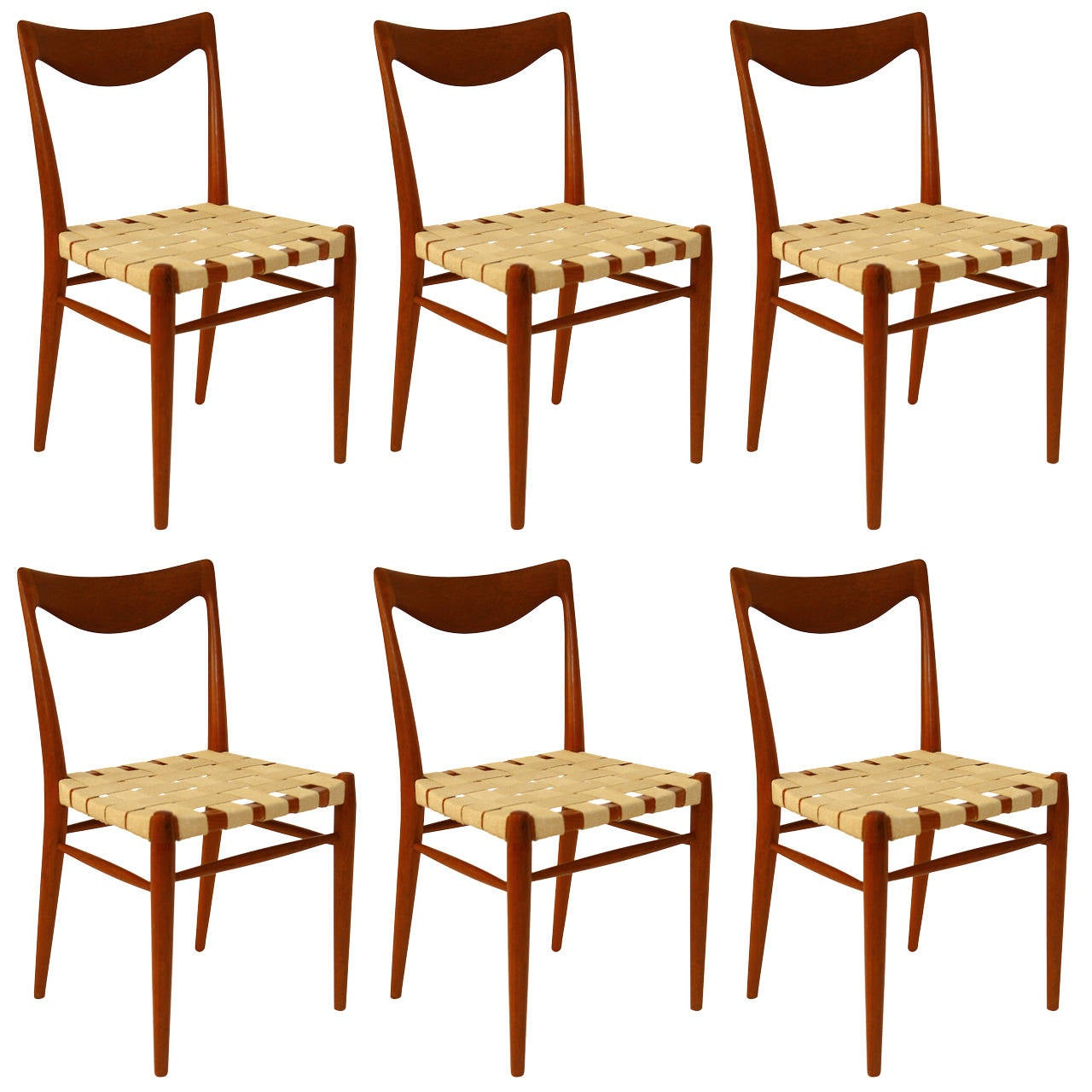 Set of Six Niels Moller Style Teak Dining Chairs, 1960s For Sale