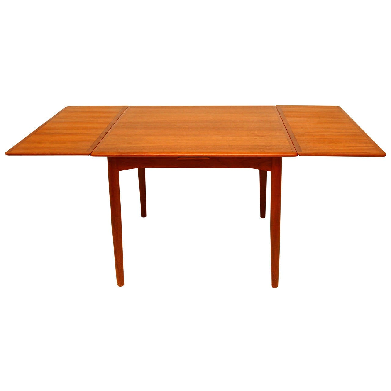 Extension dining table teak danish modern at 1stdibs for Danish modern dining room table