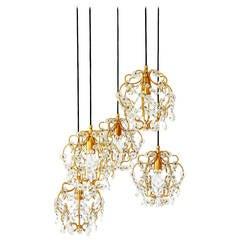 Lobmeyr Style Pendant Light, Gilded Brass, Austria, 1960s