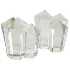 Pair of Vintage Crystal Sculptures
