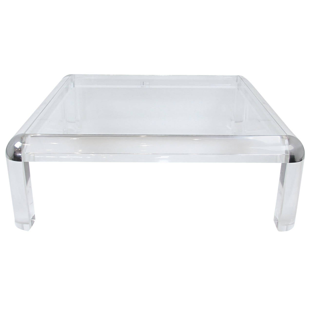 Karl Springer Style Acrylic And Chrome Coffee Table At 1stdibs