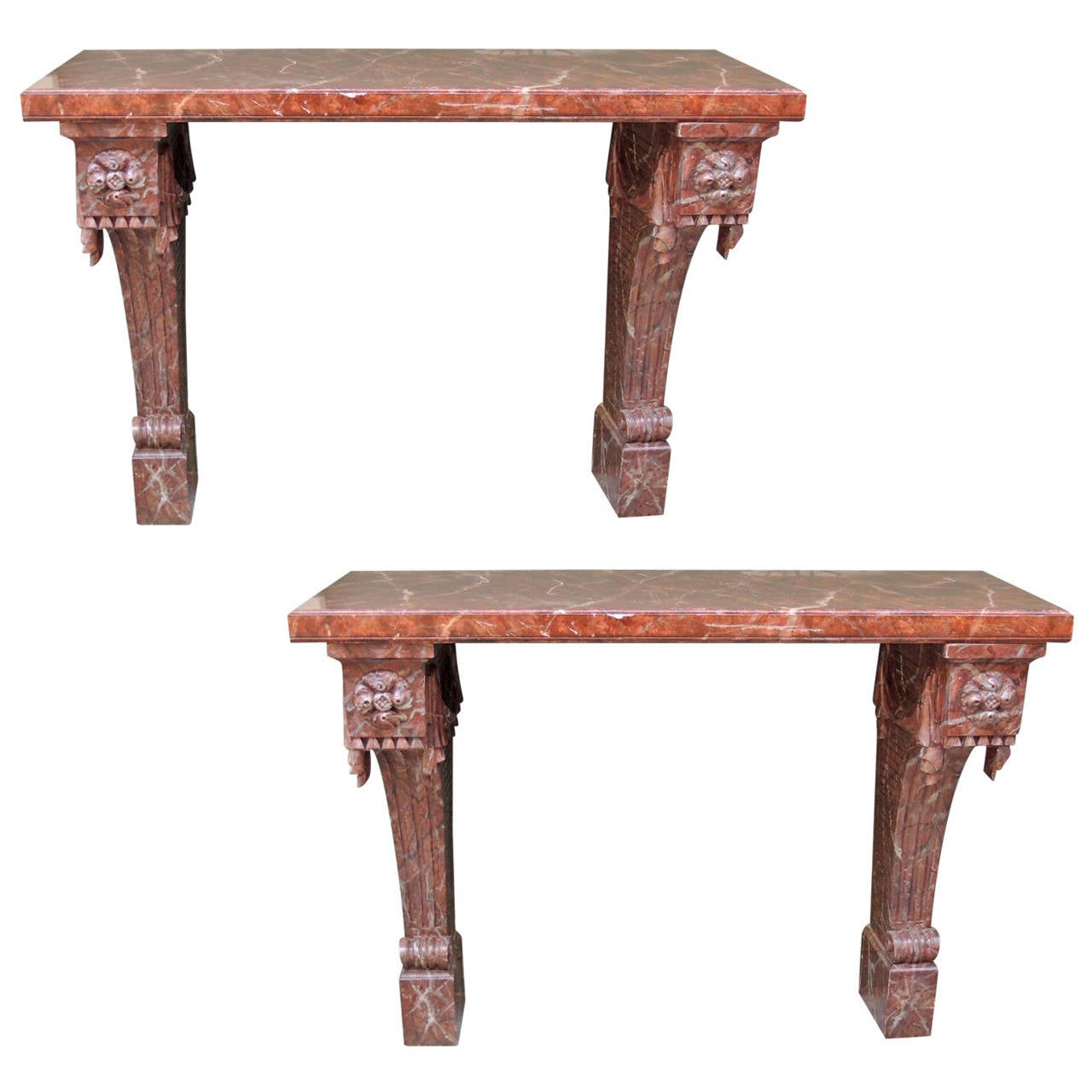 Pair of 20th c italian baroque faux marble console tables - Baroque console table ...