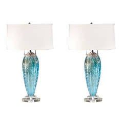 Pair of Murano Table Lamps in the Manner of Barovier e Toso