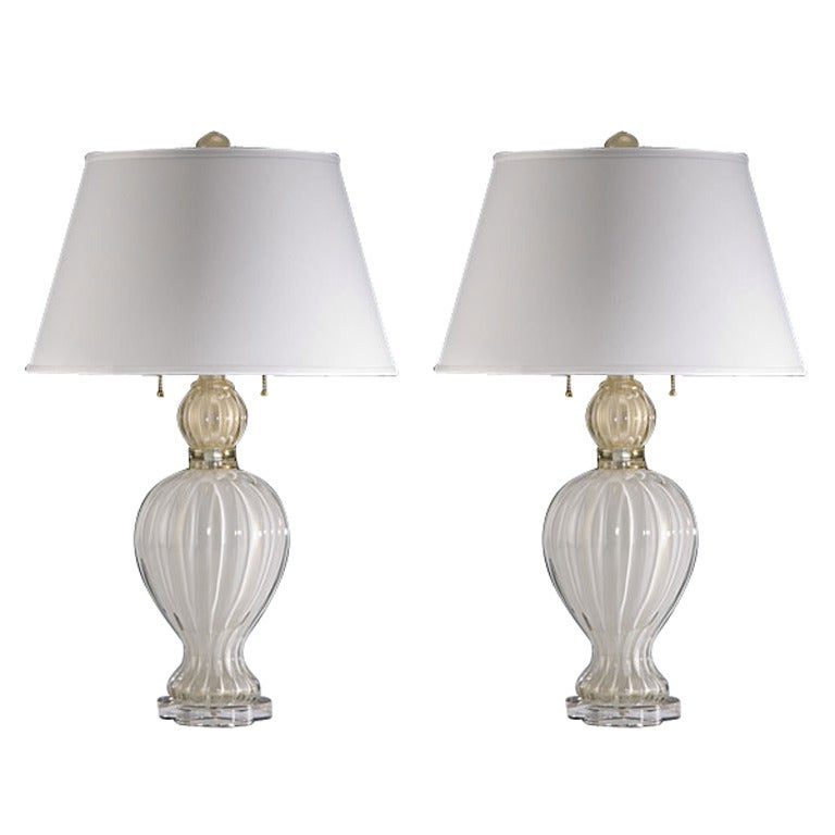 Pair of Murano / Venetian Glass Table Lamps Attributed to Barovier e Toso