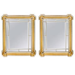 Pair of Mid-Century Modern Gilt Mirrors with Inset Beveled Mirror Panels