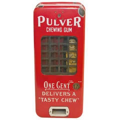 Pulver Wind Up One Cent Chewing Gum Dispenser Vending Machine