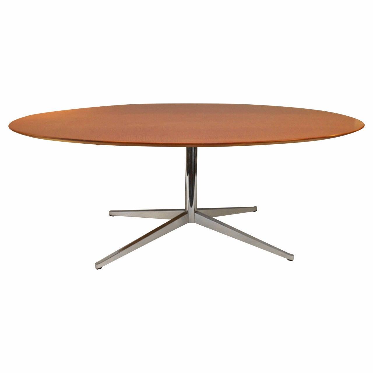 Burl Wood Oval Florence Knoll Table/Desk 1