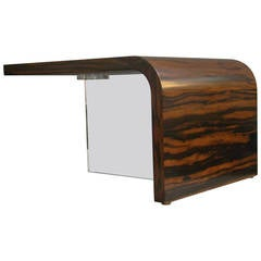 Vladimir Kagan Modernist Exotic Hardwood and Lucite Table