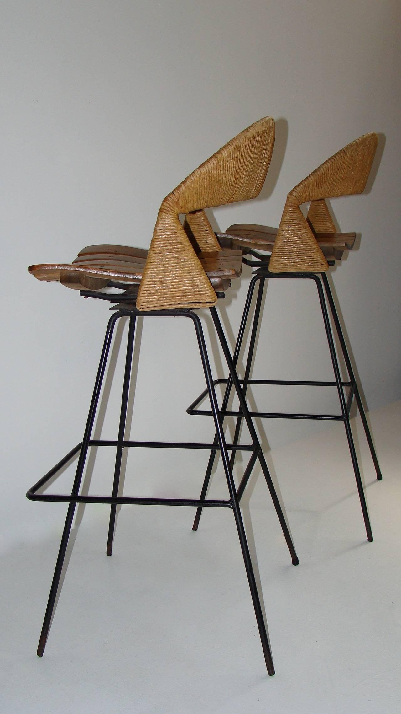 Pair Of Sculptural Bar Stools Designed By Arthur Umanoff