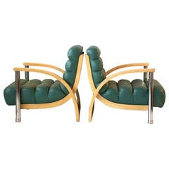 "Pair of Leather, Oak and Chrome ""Eclipse"" Lounge Chairs by Jay Spectre"