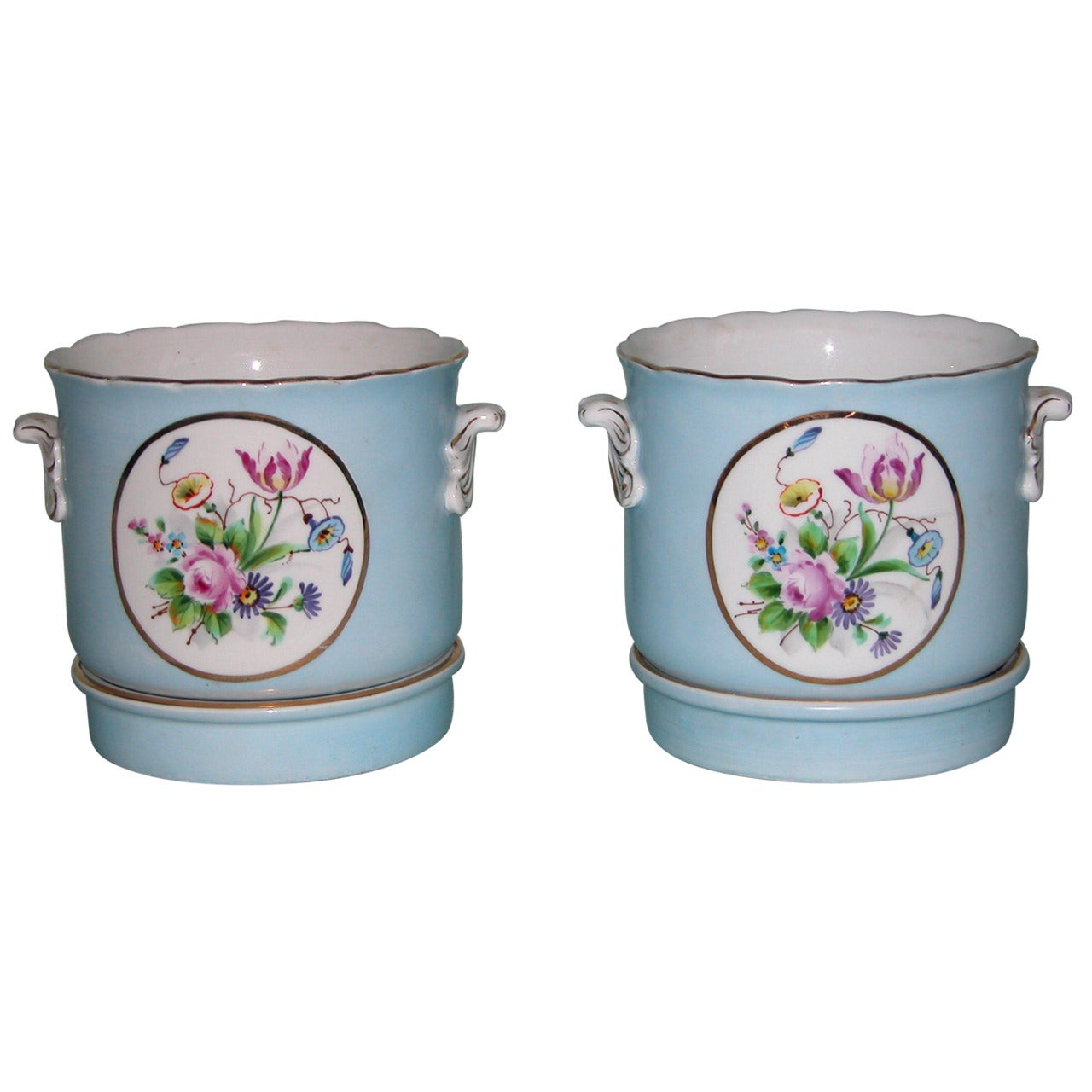 Pair of Early 20th Century Porceain Cachepot