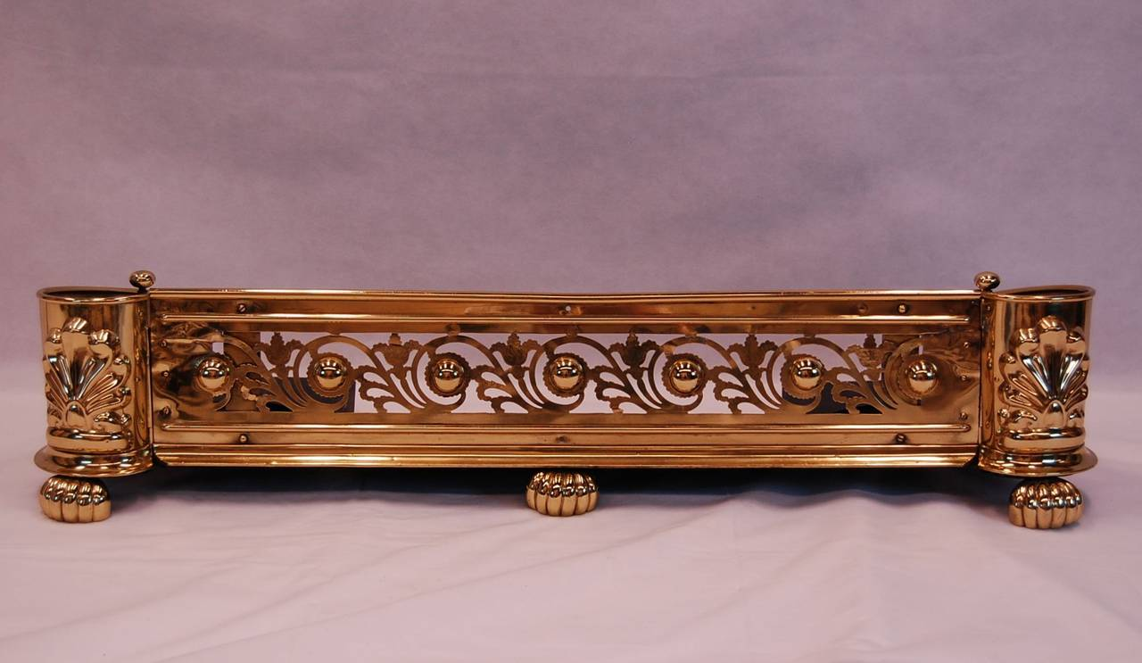 Antique Fire Fenders : Antique english brass fireplace fender at stdibs