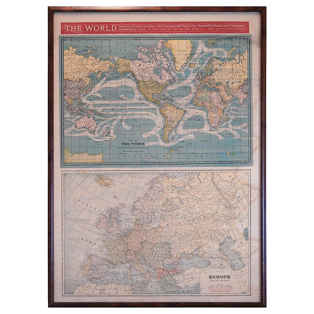 Framed Print of World Maps at 1stdibs