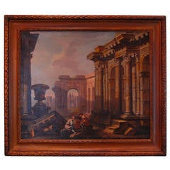 19th Century Architectural Painting of Ruins, Oil on Canvas