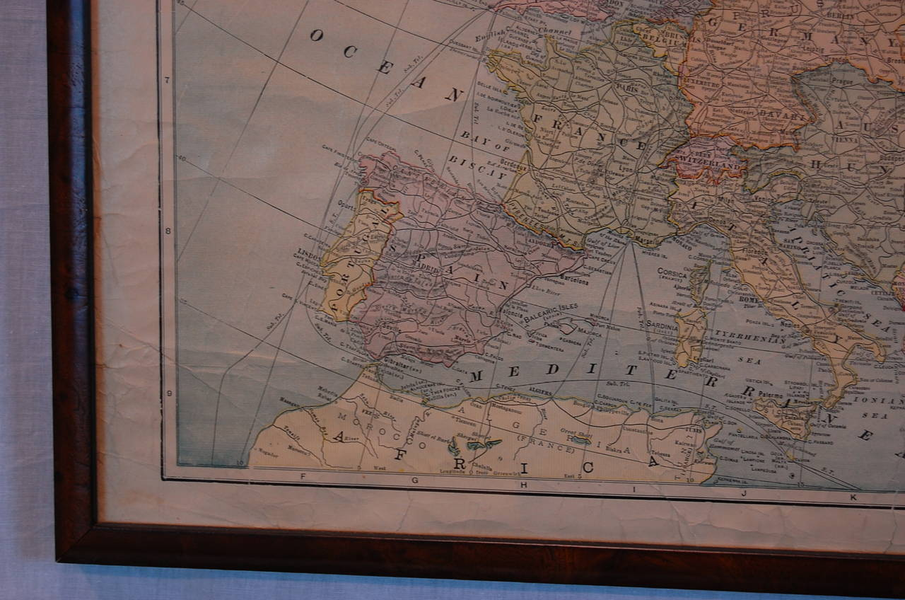 Framed print of world maps at 1stdibs for World map wall print