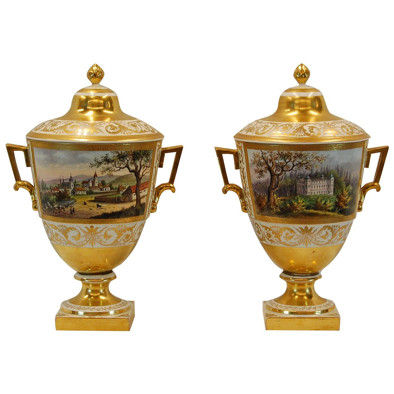 Pair German Porcelain Lidded Urns by the Eisenberger China Factory, Mid 19th C. For Sale