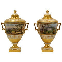 Pair of German Porcelain Lidded Urns by the Eisenberger China Factory