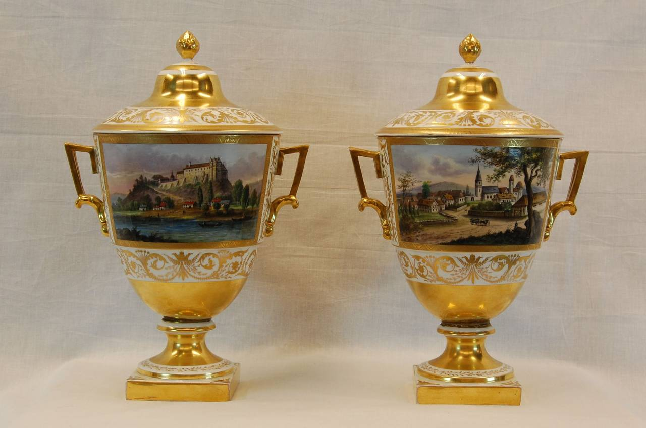 Napoleon III Pair German Porcelain Lidded Urns by the Eisenberger China Factory, Mid 19th C. For Sale