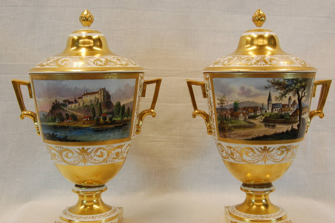 Hand-Painted Pair German Porcelain Lidded Urns by the Eisenberger China Factory, Mid 19th C. For Sale