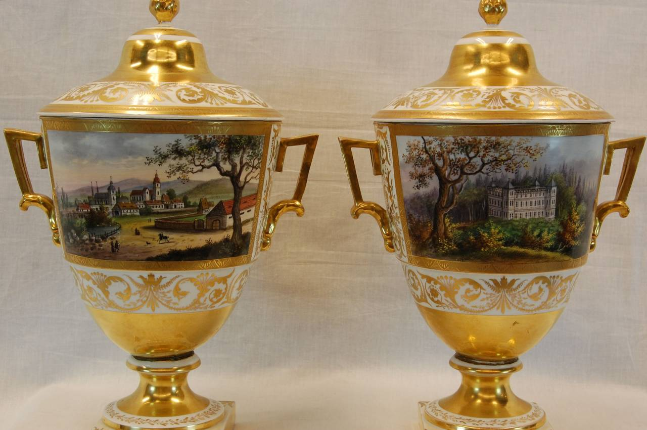 Pair German Porcelain Lidded Urns by the Eisenberger China Factory, Mid 19th C. In Excellent Condition For Sale In Pittsburgh, PA