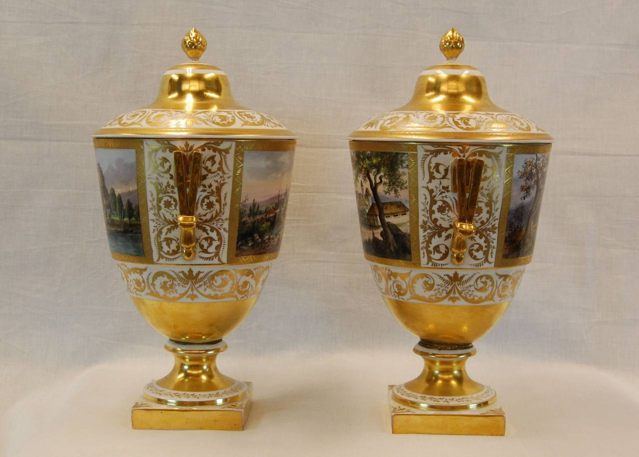 Mid-19th Century Pair German Porcelain Lidded Urns by the Eisenberger China Factory, Mid 19th C. For Sale