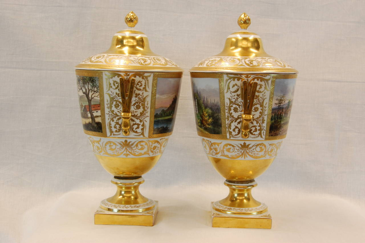 Pair German Porcelain Lidded Urns by the Eisenberger China Factory, Mid 19th C. For Sale 1