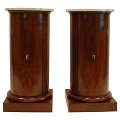 Opposing Pair Antique Cylindrical Pot Tables with Marble Tops