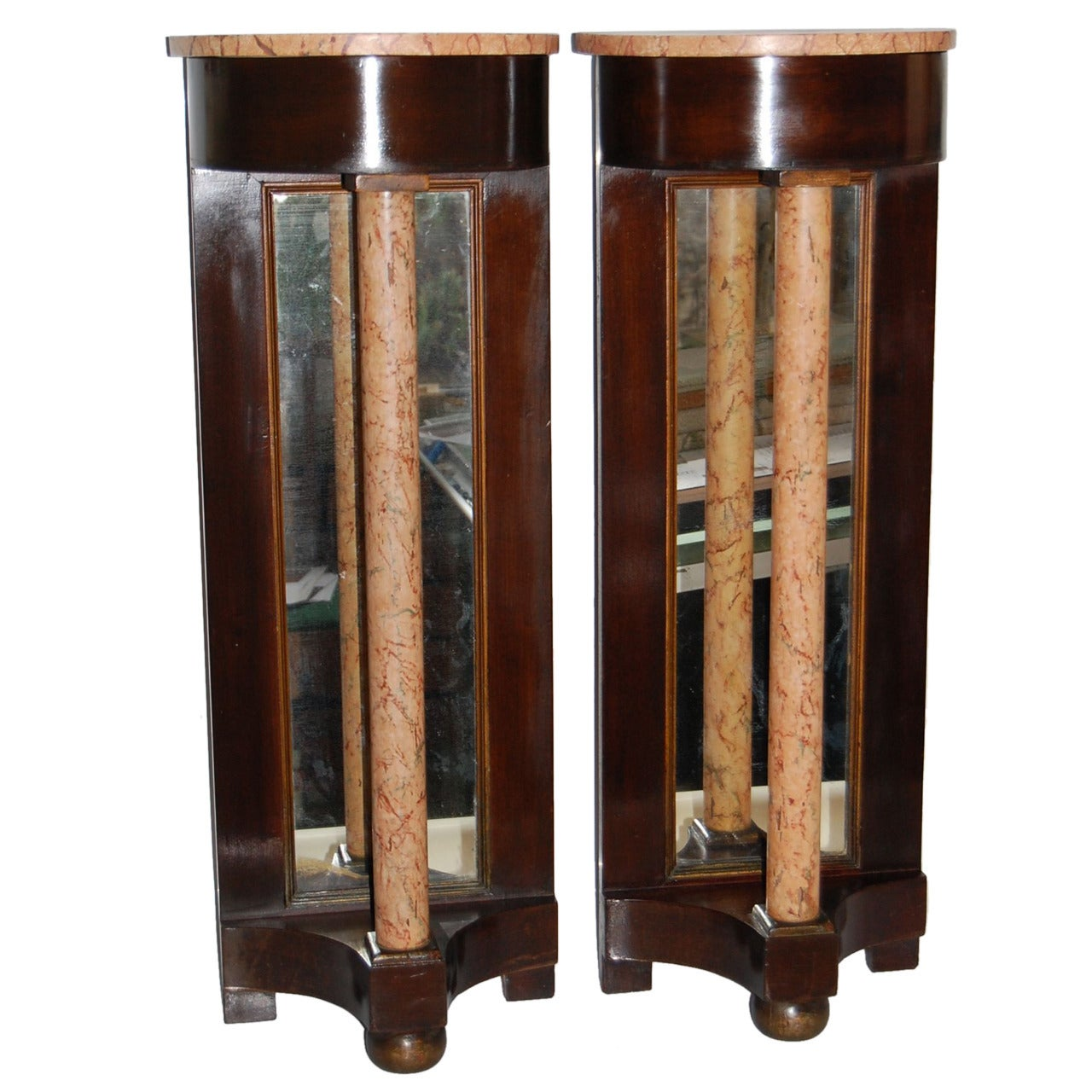Pair of Early 20th Century Petite Regency Style Mahogany Demilune Console Tables