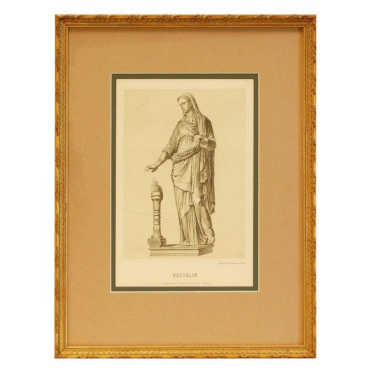 "19th Century German Print ""Vestalin"" in Gold Frame For Sale"