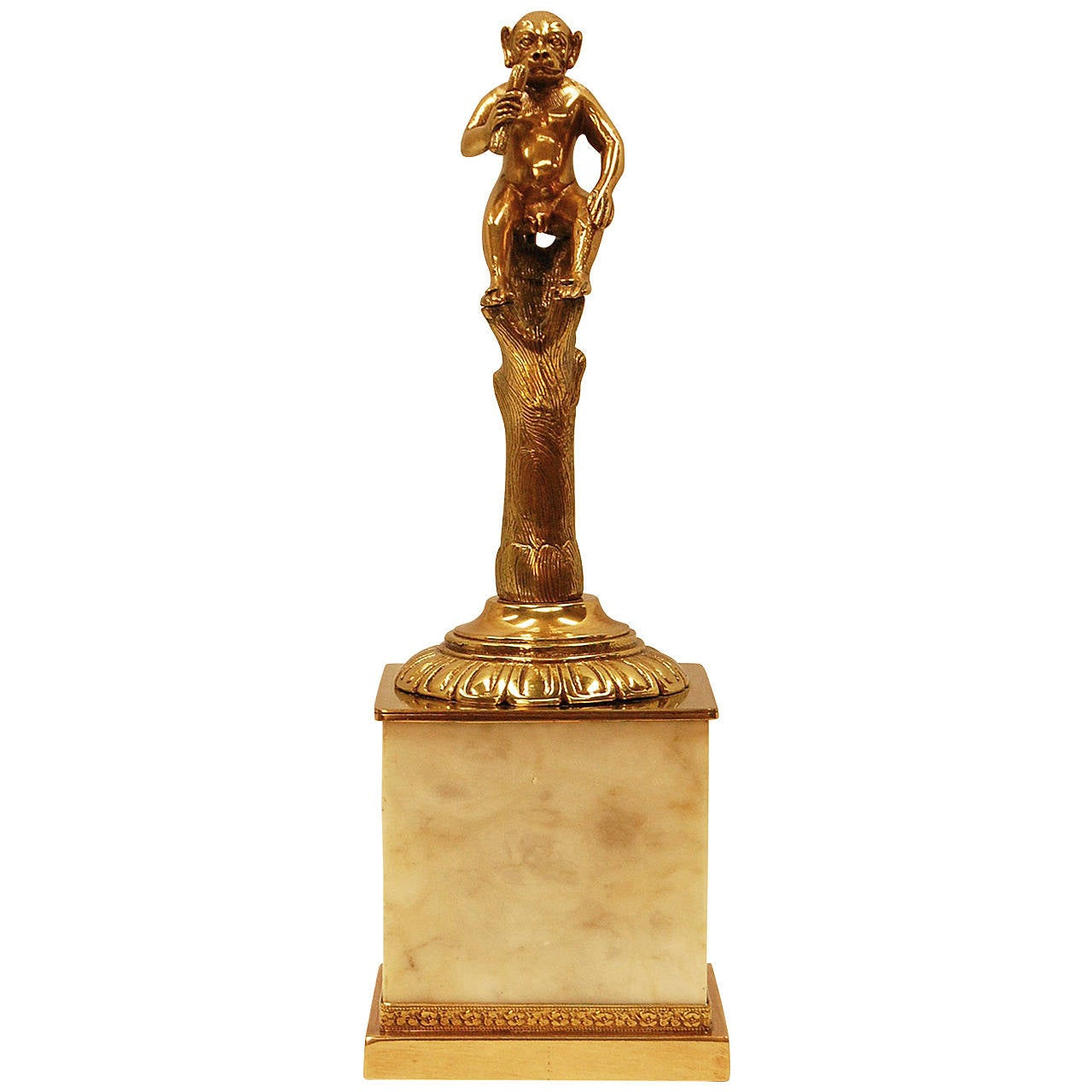 Early 19th Century Bronze Sculpture of a Monkey on Marble Plinth