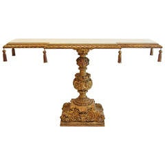 Ornate Italian Carved and Gilt Console Table