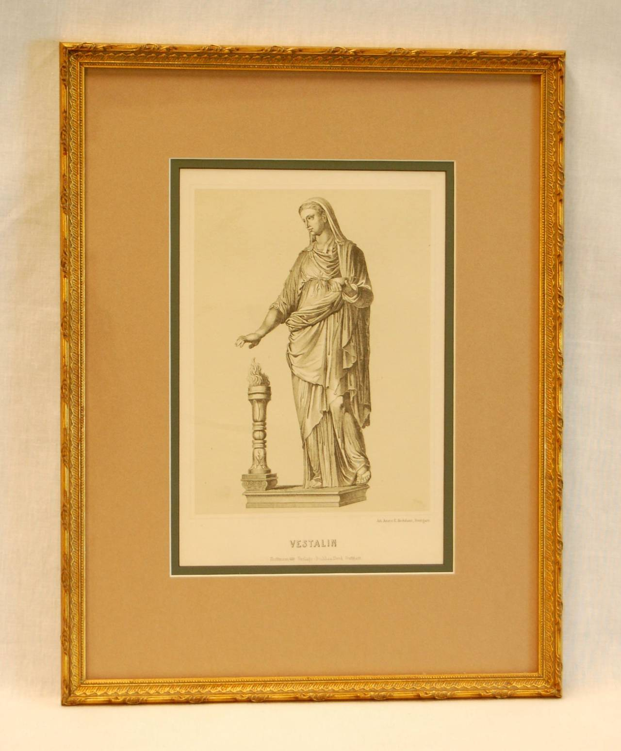 Framed German Lithograph by Anst. V. E. Hochdanz, printed by The Hoffmann Printing House of Stuttgart Germany, mid-19th century. Visible print size: 7 1/8 x 10 5/8.