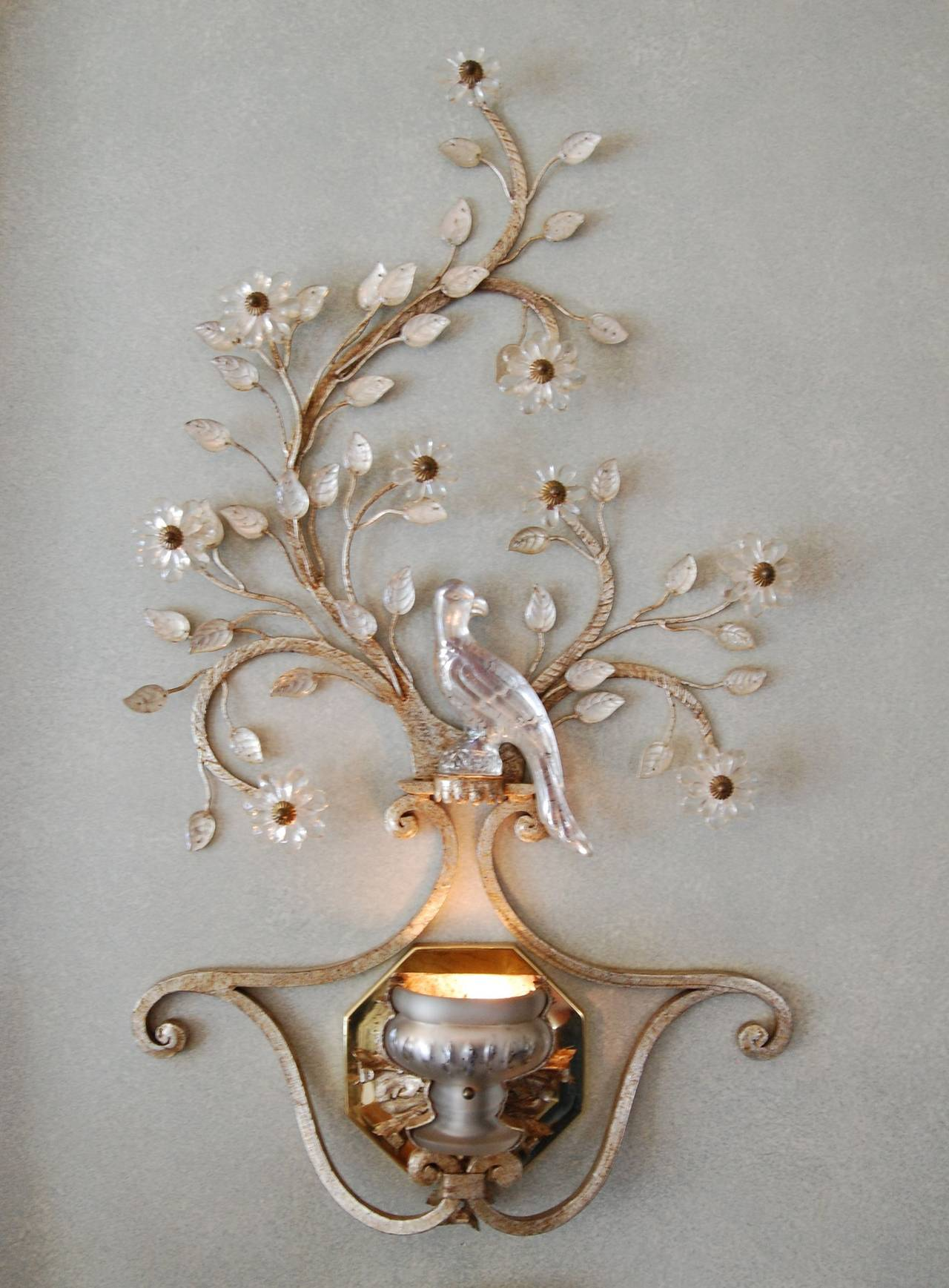 French Iron Wall Sconces : Pair of 1930s French Iron and Crystal Wall Sconces For Sale at 1stdibs