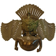 Hanging Bronze Garuda Incense Burner with Wings