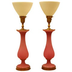 Pair of Pink Opaline, Satin and Glass Vases Wired as Lamps