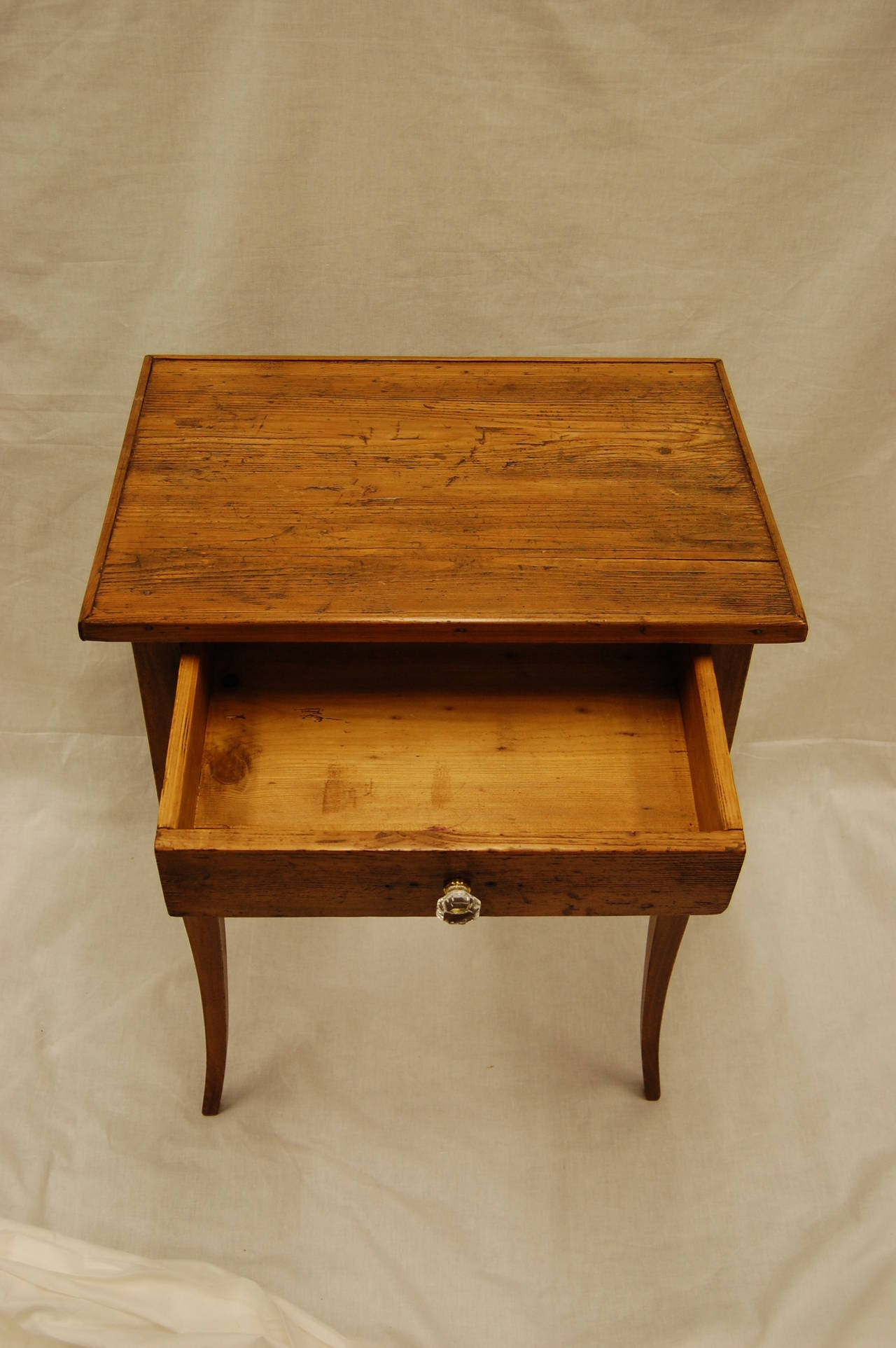 Knotty Pine Side Table With Drawer 19th Century At 1stdibs