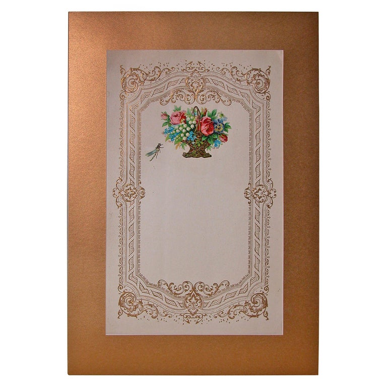Large Mid-19th Century Valentines Card in Custom Mat For Sale