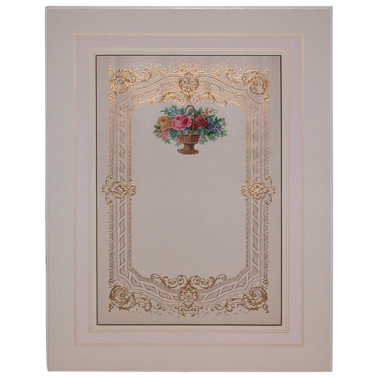 Oversized Mid-19th Century Valentines Card in Custom Mat For Sale
