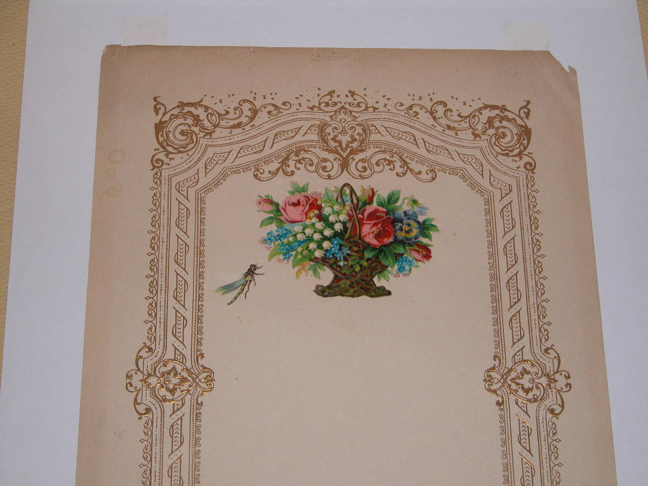 Hand-Painted Large Mid-19th Century Valentines Card in Custom Mat For Sale
