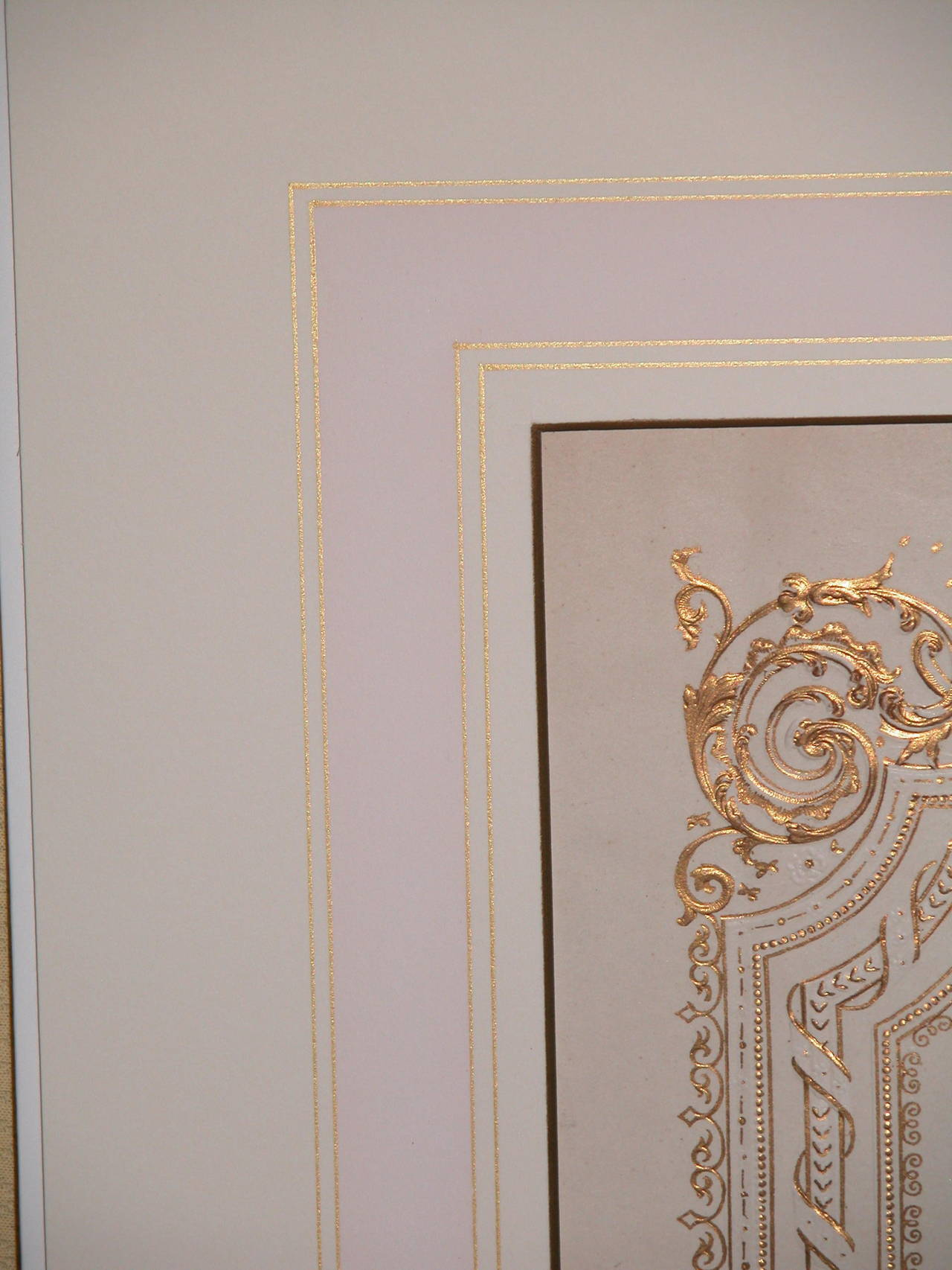 Exceptionally large and in near mint condition valentines day card in custom cut mat with pale pink and gold lines, ready for your frame. The actual valentine is 12.5