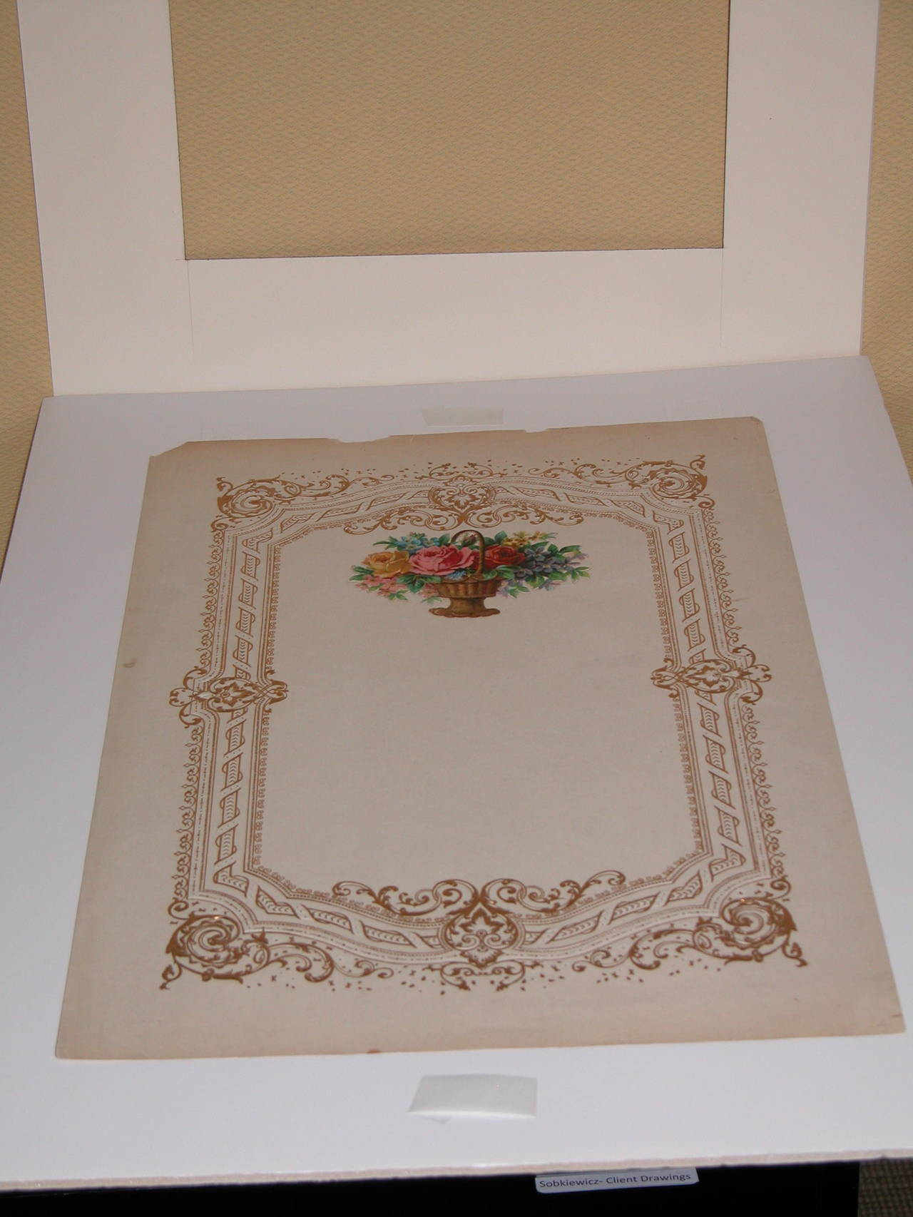 Early Victorian Oversized Mid-19th Century Valentines Card in Custom Mat For Sale