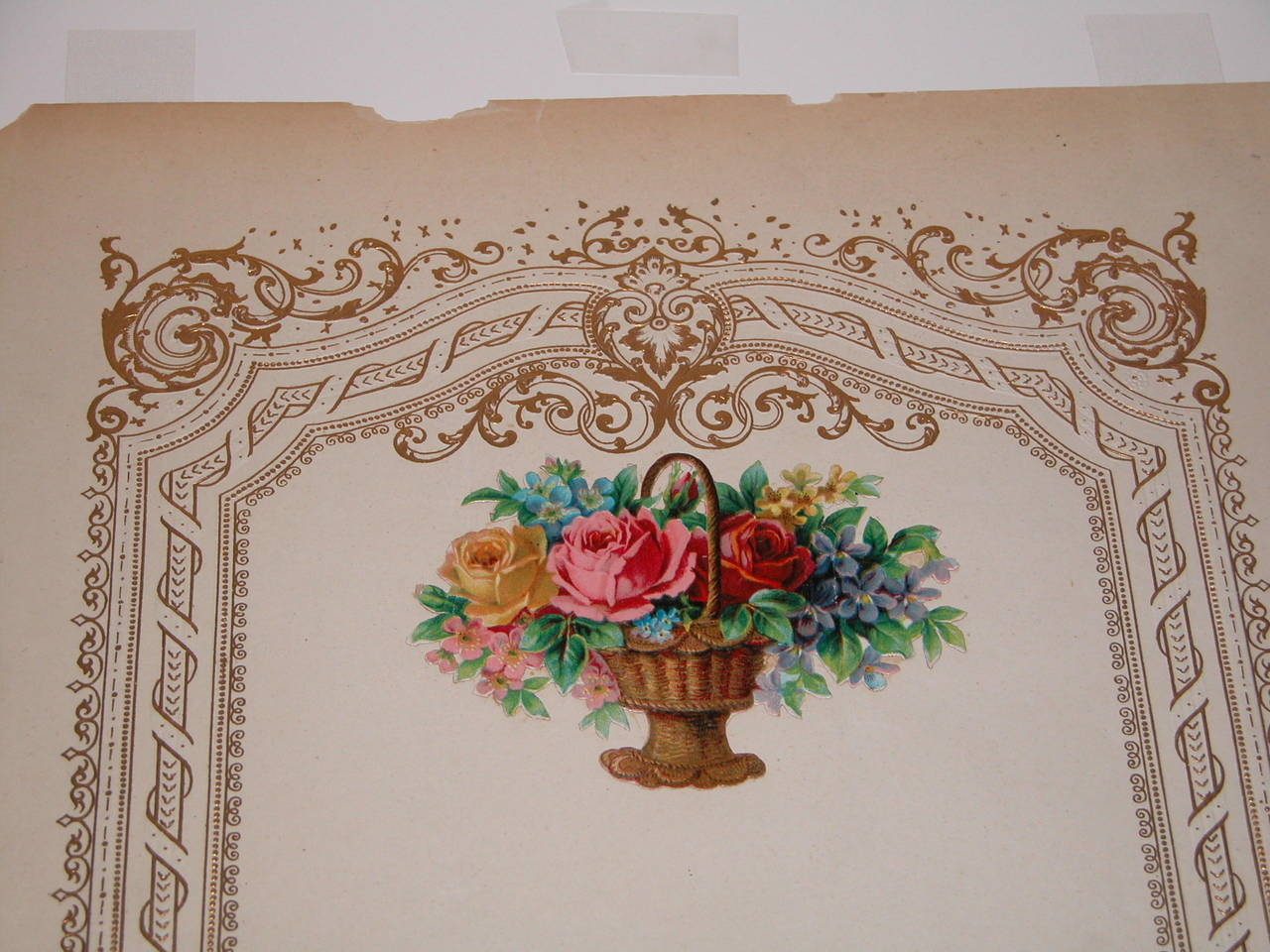 Paper Oversized Mid-19th Century Valentines Card in Custom Mat For Sale