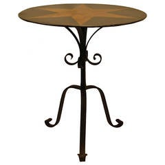 Tole Painted Circular Pedestal Table with Fancy Wrought Iron Tripod Base