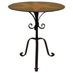 Tole Painted Circular Pedestal Table w/ Fancy Wrought Iron Tripod Base C. 1885